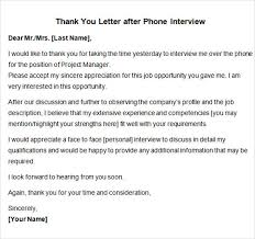 Thanks Letter After Phone Interview Sample Thank You Notes After Interview Thank You Letter After Phone