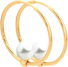 Золотые <b>серьги кольца</b> конго <b>SOKOLOV</b> 792079_s с жемчугом ...