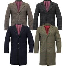 mens wool mix trench coat checked long jacket