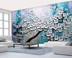 Murwall Floral Wallpaper Embossed Oil ...