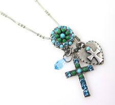 mariana dangle cross charms necklace colorful swarovski crystal moving