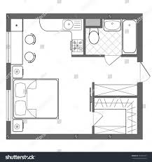 Vector Floor Plan Studio Apartment Professional Stock ... Bedroom Blueprint  Pics Kitchen