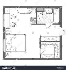 Vector Floor Plan Studio Apartment Professional Stock ... Bedroom Blueprint  Pics Kitchen