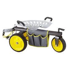 garden seat on wheels. Gorilla Carts Rolling Garden Scooter Seat On Wheels W