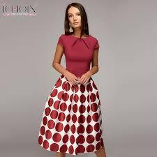 ICHOIX Ladies <b>Summer</b> Office Dress <b>Women Elegant</b> Dot Print <b>A</b> ...