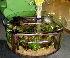 decorations attractive round glass coffee table aquarium design with green sofa also flower vase extraordinary home aquarium ideas for your home