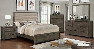 cm7862 5pc 5 pc ariella collection rustic gray finish wood with padded headboard queen bedroom set