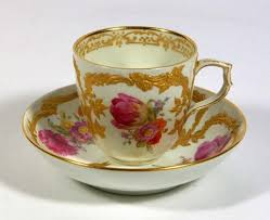 Decorating With Teacups And Saucers KPM Floral Cup Saucer with Raised Gold Decoration TEACUP 50