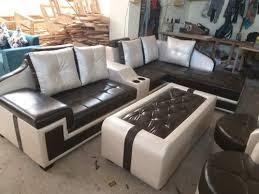 wood 7 seater corner sofa set with