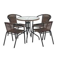 rattan coffee glass top table with 2