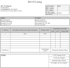 Word Bill Of Lading Template Bill Of Lading Template Word Or Truck Bill Lading Form Bill