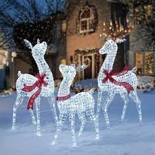 Set Of 3 Crystal Ice Led Lighted Deer Display Outdoor Christmas Yard Decorations Decoration Holiday Reindeer Family
