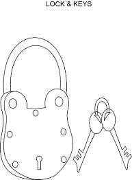 Small Picture Lock Key coloring page