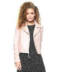 pink leather moto jacket faux belted with zipper