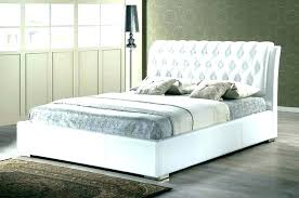 White Tufted Bed Frame Gray Channel Tufted Bed With White Leather ...