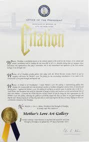 Borough President Eric L Adams Citation Mothers Love Art Gallery