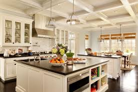 traditional open kitchen designs. Open Kitchen Traditional Design Black Countertops White Cabinets Luxury Pendant Lamp Also Wooden Floors Decor Designs A