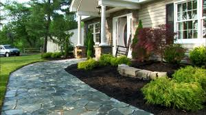 Front Yard Landscape With Stoned Paver Ideas And Patio Chair Ideas