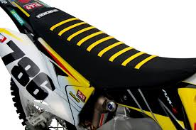 2001 2018 suzuki rm 125 250 seat cover by enjoy mfg all black yellow ribs