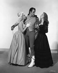 between scenes on the set of scaramouche tony curtis scaramouche 1952 starring stewart granger eleanor parker and janet leigh