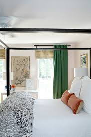 Green, IKEA, Curtains, Blush, Pink, Walls, Master, Bedroom, Bamboo Shades,  Chinoiserie Artwork, White Bedding, Canopy Bed