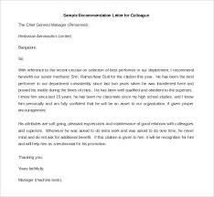 Sample Recommendation Letter For A Colleague Going For