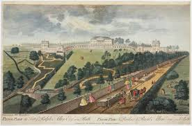Coloured engraving of Prior Park, the seat of Ralph Allen Esq, and ...