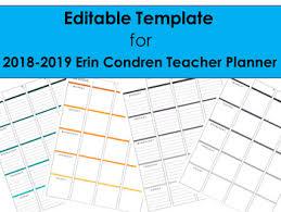2018 2019 Editable Template To Use With Erin Condren Teacher Planner