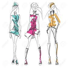 Clothes Design Sketch Model Vector Fashion Model Vector Sketch Silhouette Vector Design