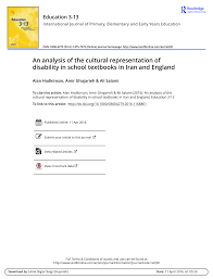 PDF) An analysis of the cultural representation of disability in school  textbooks in Iran and England