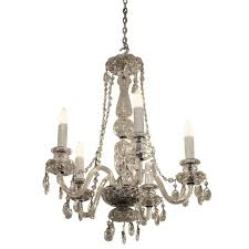 1940s red waterford five arm chandelier with czech crystals
