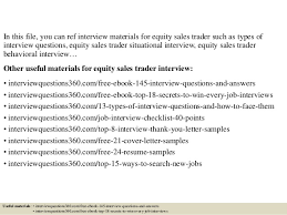 top 10 equity sales trader interview questions and answers equity trader cover letter
