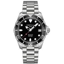 mens diver watches creative watch co certina ds action precidrive accuracy diver s black dial watch