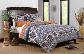 33 picturesque design moroccan style quilt com boho chic paisley pattern grey orange cotton 3 piece king size bedding set home kitchen covers
