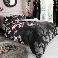 roseanne fl double duvet cover set black flowers roses 2 in 1 design