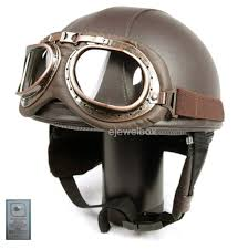 com vintage motorcycle motorbike scooter half leather helmet brown wlth free goggles and one ganda anti electromagnetic radiation sticker