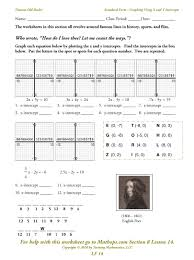 worksheet finding the equation of a line worksheet lf 14 standard form graphing using x and