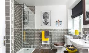 white and grey bathroom with walk in shower