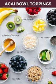 overhead photo of all the various topping ideas for acai bowls
