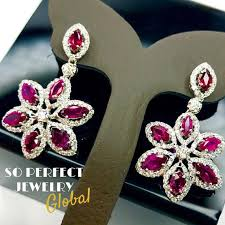 siamese 7 68tcw ruby diamonds 18k solid handmade white gold chandelier earrings
