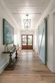 blue barn wood. Long Foyer Hall With Blue Barn Door Wood