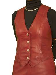 las red leather waistcoat
