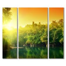 """Модульная картина на холсте с фотопечатью """"<b>Рассвет</b> над рекой"""""""