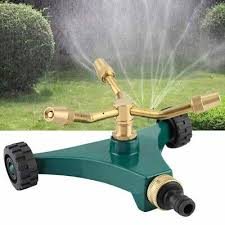 360° <b>Brass Revolving Sprinkler Garden</b> Irrigation Three-arm Lawn ...