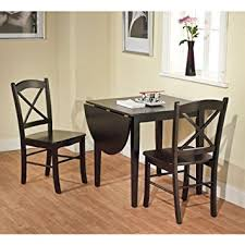 dining table with 2 chairs. black 3-piece country cottage dining set table and 2 chairs nook with
