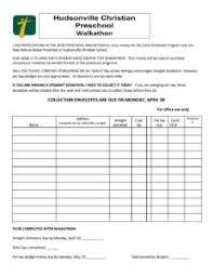2018 Walkathon Pledge Sheets Hudsonville Christian