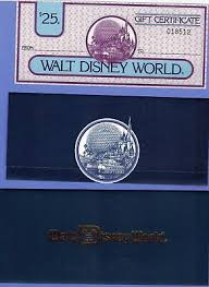 rare 1983 unused walt disney world 25 00 gift certificate castle epcot envelope