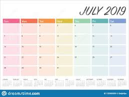 Desk Calendar Printable July 2019 Desk Calendar Vector Illustration Stock Vector