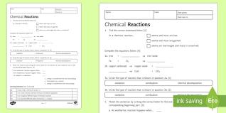 chemical reactions worksheet ks3