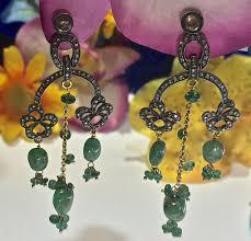 silver emerald chandelier earrings indian style chandelier earrings emerald chandelier earrings